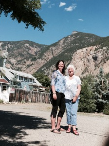Patricia & Mary in Hedley with the Nickel Plate Mountain in the background.