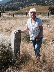 Mary (Stewart) Dever at the Hedley Cemetery, Hedley, B.C. June 2015. In Memory of James Stewart 1849-1921 May His Soul Rest In Peace