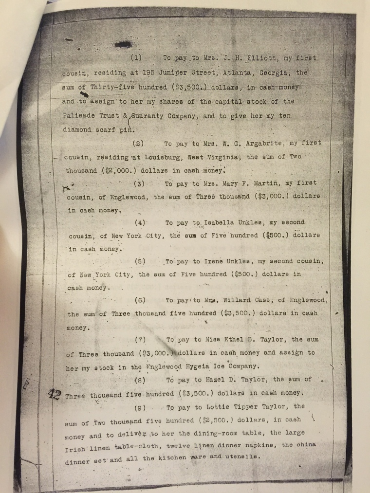 Page from John Tipper's will
