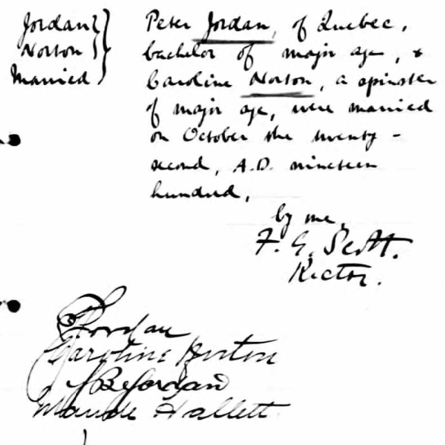 Peter & Caroline (Norton) Jordan's marriage record from St. Matthew's Anglican Church, Quebec City.