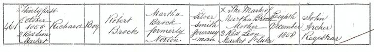 Richard Brock's birth registration.