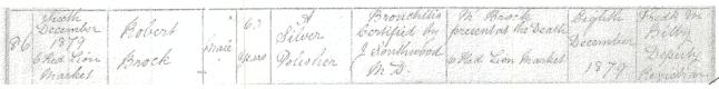 Robert Brock's death registration