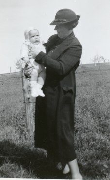 Beatrice holding her son John April 1938.