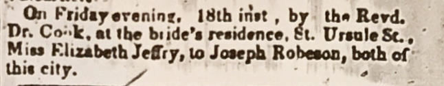 Jeffery-Robertson marriage Quebec Chronicle Mar 23 1853
