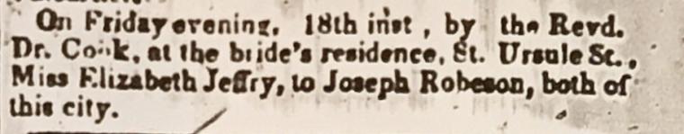 Jeffery-Robertson marriage Quebec Chronicle Mar 23 1853