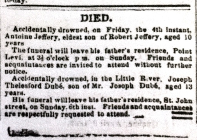 JEFFERY, Antoine obit The Morning Chronicle Jul 5 1862 p2.JPG