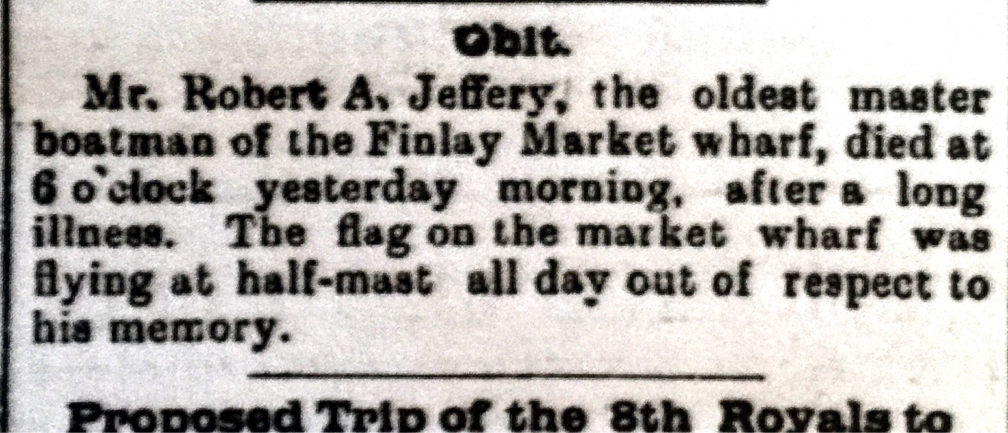 JEFFERY, Robert A obit 4 June 1897 Morning Chronicle