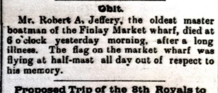 JEFFERY, Robert A obit 4 June 1897 Morning Chronicle