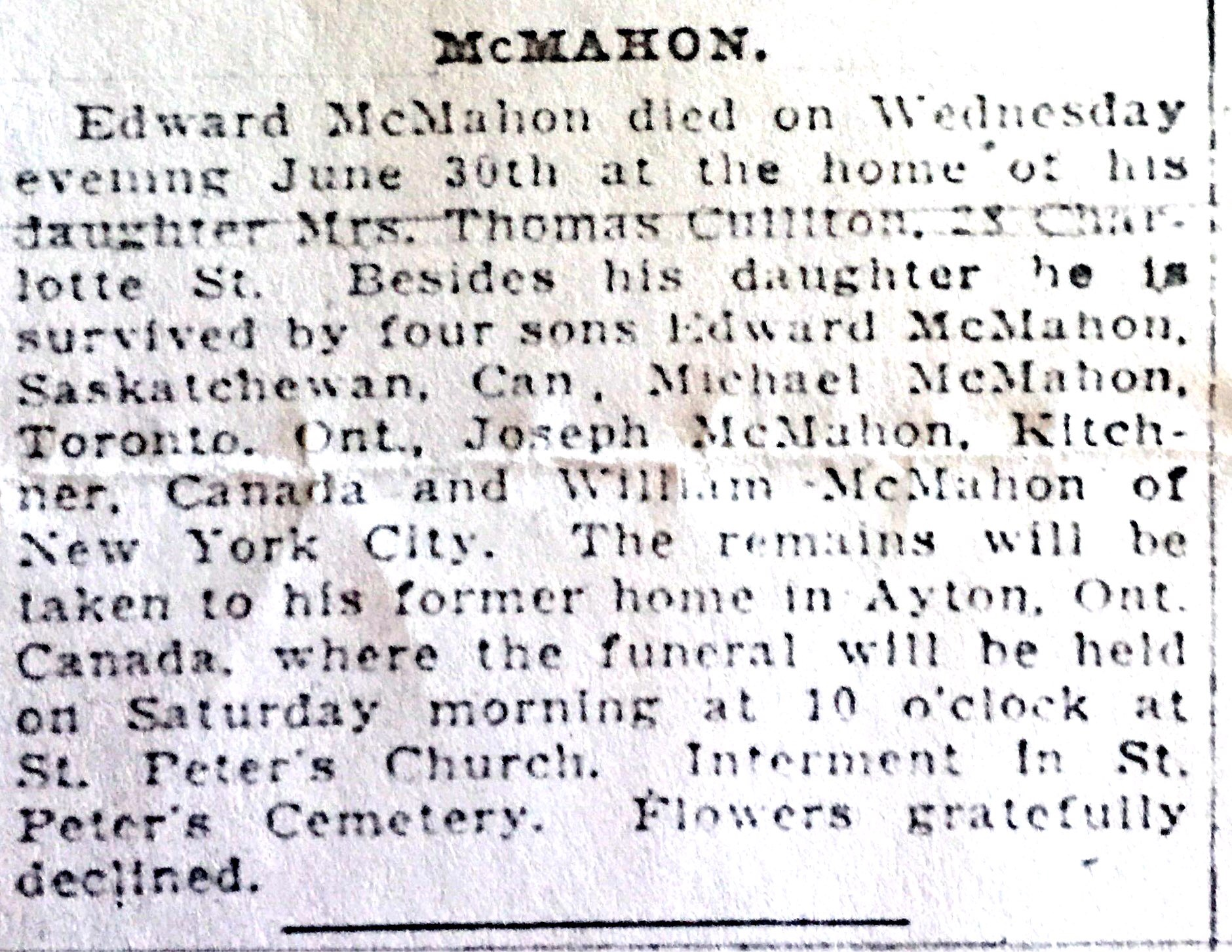 MCMAHON, Edward obituary