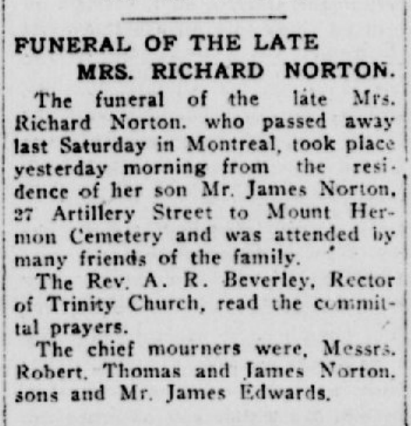 Norton, hanna P Quebec Chronicle Jan 24,1917