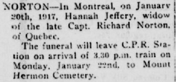 Norton, Hannah P Quebec Chronicle Jan 22 1917