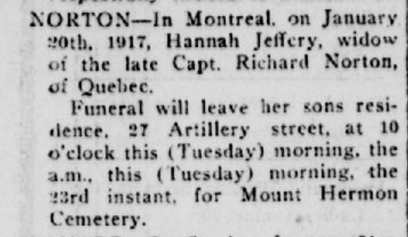 Norton, Hannah P Quebec Chronicle Jan 23 1917