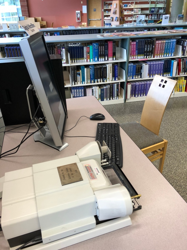 Microfilm reader at the Kelowna Library