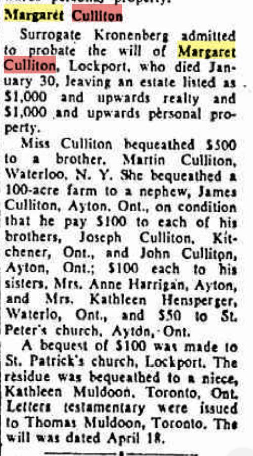 Culliton, Marg Niagara Falls NY Gazette 1953 May